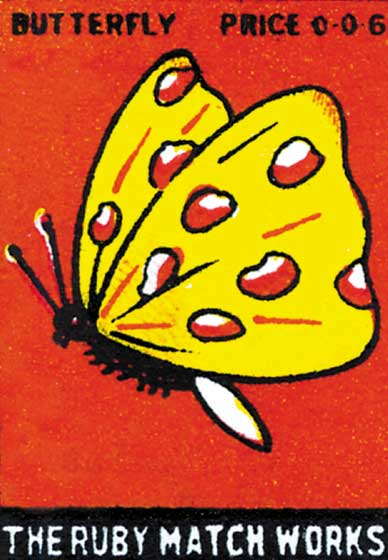 Butterfly: The Ruby Matchworks  BLANK INSIDE  Our blank notecards are custom printed at our location in Seattle, WA. They come bagged with an envelope. We love illustration art from old children's books and early, printed ephemera. These cards reflect this interest in bringing delightful art back to life