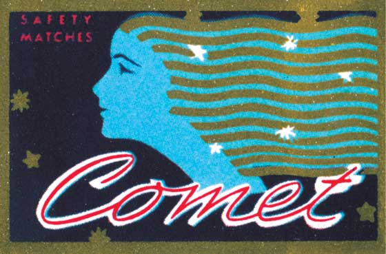 Comet Safety Matches  BLANK INSIDE  Our blank notecards are custom printed at our location in Seattle, WA. They come bagged with an envelope. We love illustration art from old children's books and early, printed ephemera. These cards reflect this interest in bringing delightful art back to life
