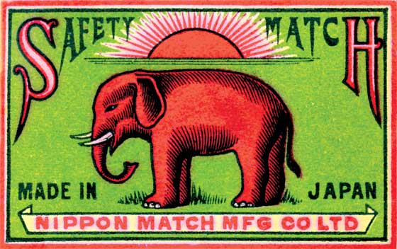 Elephant Safety Match: Nippon Match Mfg. Co.  BLANK INSIDE  Our blank notecards are custom printed at our location in Seattle, WA. They come bagged with an envelope. We love illustration art from old children's books and early, printed ephemera. These cards reflect this interest in bringing delightful art back to life