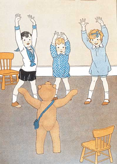 A Teddy Bear Leading Gym Class These prints are made at our location in Seattle, WA. They have a thick, white backing board and are sealed in clear bags. Each is suitable for framing at 11 inches x 14 inches or can be used as is for wall display. Our goal is to bring back to life these wonderful illustrations from old-fashioned, children's books and from early advertising art.
