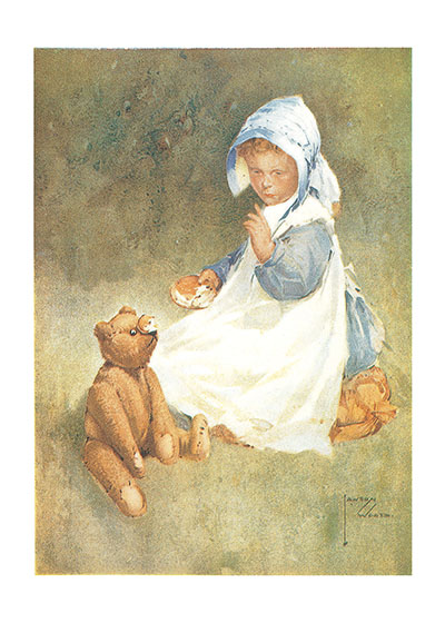 A Girl and Her Teddy Bear These prints are made at our location in Seattle, WA. They have a thick, white backing board and are sealed in clear bags. Each is suitable for framing at 11 inches x 14 inches or can be used as is for wall display. Our goal is to bring back to life these wonderful illustrations from old-fashioned, children's books and from early advertising art.