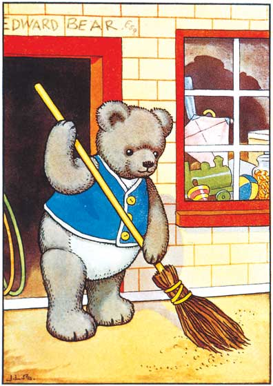 A Teddy Bear Sweeping Up  BLANK INSIDE  Our blank notecards are custom printed at our location in Seattle, WA. They come bagged with an envelope. We love illustration art from old children's books and early, printed ephemera. These cards reflect this interest in bringing delightful art back to life