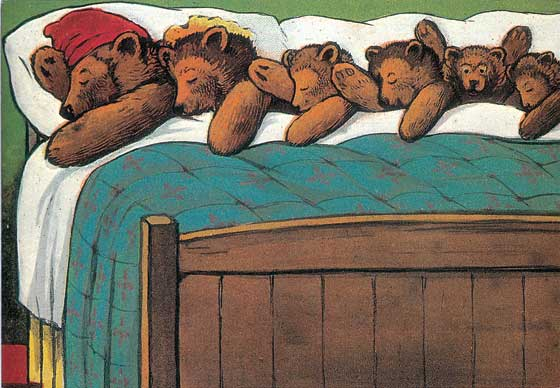 Teddy Bears Sleeping  BLANK INSIDE  Our blank notecards are custom printed at our location in Seattle, WA. They come bagged with an envelope. We love illustration art from old children's books and early, printed ephemera. These cards reflect this interest in bringing delightful art back to life