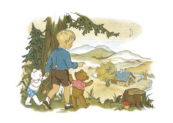 A Boy Walking With His Teddy Bears These prints are made at our location in Seattle, WA. They have a thick, white backing board and are sealed in clear bags. Each is suitable for framing at 11 inches x 14 inches or can be used as is for wall display. Our goal is to bring back to life these wonderful illustrations from old-fashioned, children's books and from early advertising art.