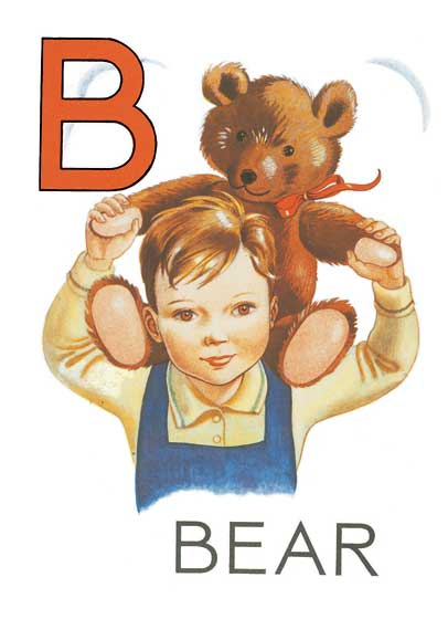 B for Bear  BLANK INSIDE  Our blank notecards are custom printed at our location in Seattle, WA. They come bagged with an envelope. We love illustration art from old children's books and early, printed ephemera. These cards reflect this interest in bringing delightful art back to life