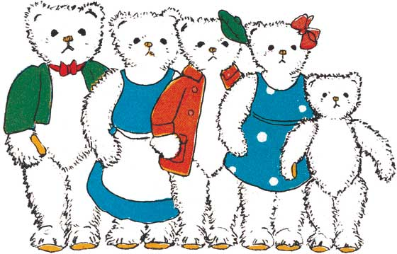 Teddy Bear Family  BLANK INSIDE  Our blank notecards are custom printed at our location in Seattle, WA. They come bagged with an envelope. We love illustration art from old children's books and early, printed ephemera. These cards reflect this interest in bringing delightful art back to life