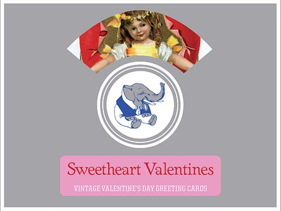 Sweetheart Valentines - Vintage Valentine's Day Greeting Cards | Packaged and Boxed Valentine's Day Greeting Cards 8 classic Valentine's Day Greeting Cards from the Laughing Elephant's collection of the best Valentine's ever made, 2 each of 4 designs with Envelopes.  Happy children celebrate Valentine's Day in a variety of whimsical poses and situations on these cards drawn from the Laughing Elephant's collection nonpareil.  Made in America with high quality paper, envelopes and packaged in a deluxe, keepsake box.