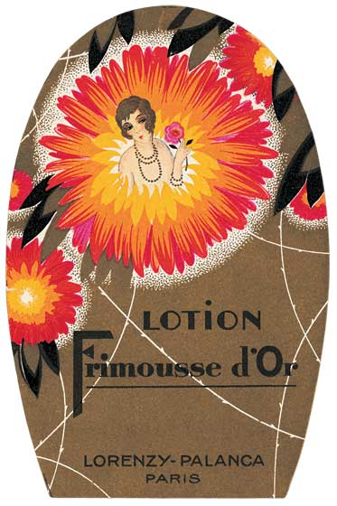 "Lotion Frimousse d'Or Greeting Card | Vintage Cosmetics Graphic Design Greeting Cards ""Our blank notecards are custom printed at our location in Seattle, WA. They come bagged with an envelope. We love illustration art from old children's books and early, printed ephemera. These cards reflect this interest in bringing delightful art back to life."""