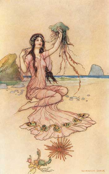 Nymph With Jellyfish | Women Art Prints This lovely nymph, from the illustrator Warwick Goble, illustrates a section the Elizabethan poet Michael Drayton's The Second Nimphall, about the nymph Lirope.