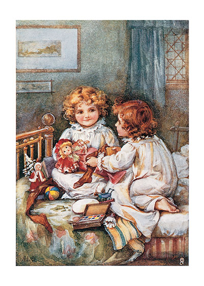 Sisters and Dolls  BLANK INSIDE  Our blank notecards are custom printed at our location in Seattle, WA. They come bagged with an envelope. We love illustration art from old children's books and early, printed ephemera. These cards reflect this interest in bringing delightful art back to life.