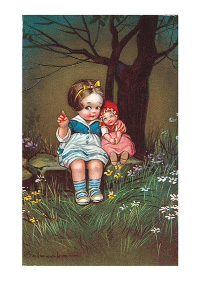 Doll and Girl in Woods These prints are made at our location in Seattle, WA. They have a thick, white backing board and are sealed in clear bags. Each is suitable for framing at 11 inches x 14 inches or can be used as is for wall display. Our goal is to bring back to life these wonderful illustrations from old-fashioned, children's books and from early advertising art.