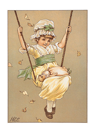 Girl and Doll on Swing Blank Greeting Card | Girls Children Greeting Cards Our blank notecards are custom printed at our location in Seattle, WA. They come bagged with an envelope. We love illustration art from old children's books and early, printed ephemera. These cards reflect this interest in bringing delightful art back to life.
