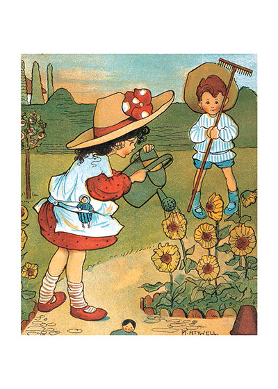 Watering the Flowers | Children's Playtime Children Art Prints These prints are made at our location in Seattle, WA. They have a thick, white backing board and are sealed in clear bags. Each is suitable for framing at 11 inches x 14 inches or can be used as is for wall display. Our goal is to bring back to life these wonderful illustrations from old-fashioned, children's books and from early advertising art.