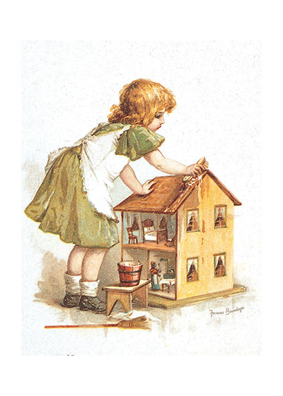 Girl With Dollhouse  BLANK INSIDE  Our blank notecards are custom printed at our location in Seattle, WA. They come bagged with an envelope. We love illustration art from old children's books and early, printed ephemera. These cards reflect this interest in bringing delightful art back to life.