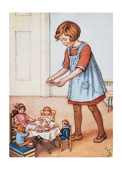 Doll Tea Time These prints are made at our location in Seattle, WA. They have a thick, white backing board and are sealed in clear bags. Each is suitable for framing at 11 inches x 14 inches or can be used as is for wall display. Our goal is to bring back to life these wonderful illustrations from old-fashioned, children's books and from early advertising art.
