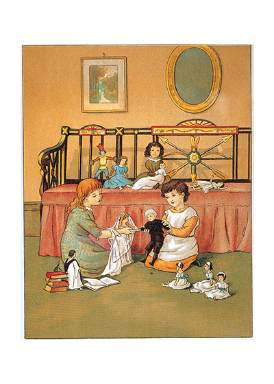 Girls Playing With Dolls  BLANK INSIDE  Our blank notecards are custom printed at our location in Seattle, WA. They come bagged with an envelope. We love illustration art from old children's books and early, printed ephemera. These cards reflect this interest in bringing delightful art back to life.