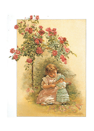 Girl and Doll Under Roses These prints are made at our location in Seattle, WA. They have a thick, white backing board and are sealed in clear bags. Each is suitable for framing at 11 inches x 14 inches or can be used as is for wall display. Our goal is to bring back to life these wonderful illustrations from old-fashioned, children's books and from early advertising art.
