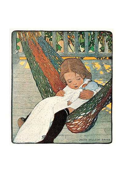 "Girl and Doll in Hammock Art Print | Dolls Art Prints ""These prints are made at our location in Seattle, WA. They have a thick, white backing board and are sealed in clear bags. Each is suitable for framing at 11 inches x 14 inches or can be used as is for wall display. Our goal is to bring back to life these wonderful illustrations from old-fashioned, children's books and from early advertising art."""