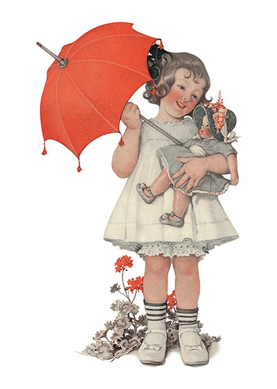 Girl w/ Umbrella & Doll  BLANK INSIDE  Our blank notecards are custom printed at our location in Seattle, WA. They come bagged with an envelope. We love illustration art from old children's books and early, printed ephemera. These cards reflect this interest in bringing delightful art back to life.