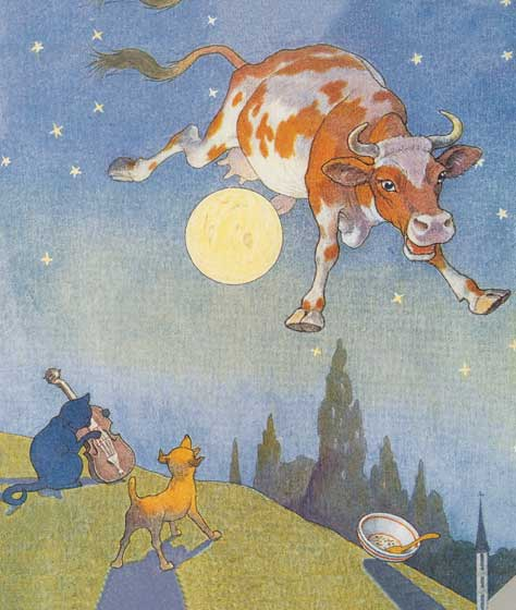 And the Cow Jumped Over the Moon | Nursery Rhymes Art Prints These prints are made at our location in Seattle, WA. They have a thick, white backing board and are sealed in clear bags. Each is suitable for framing at 11 inches x 14 inches or can be used as is for wall display. Our goal is to bring back to life these wonderful illustrations from old-fashioned, children's books and from early advertising art.