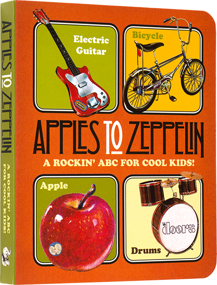 Apples to Zeppelin - A Rockin' ABC for Cool Kids! | Board Books Children's Books Apples to Zeppelin A Rockin' ABC for Cool Kids is the coolest board book ABC ever made. For beginning readers, it features over 100 words. The first important words in a babies' life like apple, dog, and socks are illustrated alongside the other essentials for every young rocker, such as; electric guitar, drums and microphone. The illustrations are all in the bright and nostalgic vintage style of the classic rock era. And, as if that isn't enough, every page contains a visual shout out to classic bands, like The Beatles, Lynyrd Skynyrd, and, of course, Led Zeppelin. The wide variety of bright and bold illustrations and the fun approach are sure to delight parent and child alike. Apples to Zeppelin is a well made board book that will survive the repeated readings every toddler will demand.
