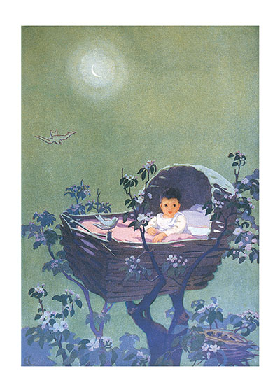 Lullaby Baby These prints are made at our location in Seattle, WA. They have a thick, white backing board and are sealed in clear bags. Each is suitable for framing at 11 inches x 14 inches or can be used as is for wall display. Our goal is to bring back to life these wonderful illustrations from old-fashioned, children's books and from early advertising art.