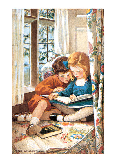Reading In The Window  BLANK INSIDE  Our blank notecards are custom printed at our location in Seattle, WA. They come bagged with an envelope. We love illustration art from old children's books and early, printed ephemera. These cards reflect this interest in bringing delightful art back to life.