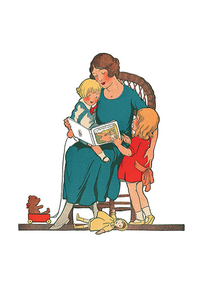 Mother Reading To Children These prints are made at our location in Seattle, WA. They have a thick, white backing board and are sealed in clear bags. Each is suitable for framing at 11 inches x 14 inches or can be used as is for wall display. Our goal is to bring back to life these wonderful illustrations from old-fashioned, children's books and from early advertising art.