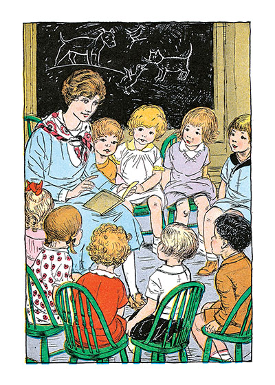 Teacher Reading to Students These prints are made at our location in Seattle, WA. They have a thick, white backing board and are sealed in clear bags. Each is suitable for framing at 11 inches x 14 inches or can be used as is for wall display. Our goal is to bring back to life these wonderful illustrations from old-fashioned, children's books and from early advertising art.