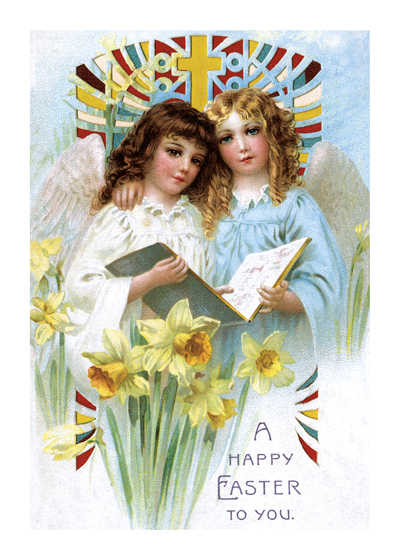 Choir Singers Easter  BLANK INSIDE  Our blank notecards are custom printed at our location in Seattle, WA. They come bagged with an envelope. We love illustration art from old children's books and early, printed ephemera. These cards reflect this interest in bringing delightful art back to life