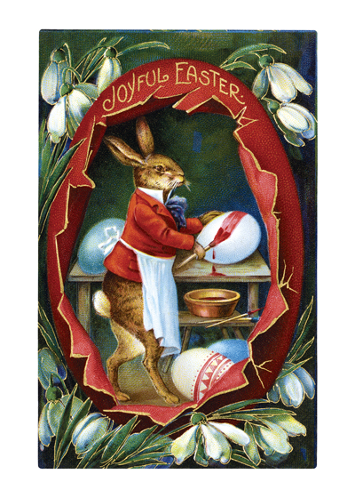 Easter Rabbit Painting Egg Red | Easter Greeting Cards