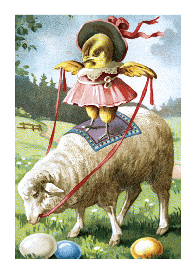 Chick Ridiing Sheep  BLANK INSIDE  Our blank notecards are custom printed at our location in Seattle, WA. They come bagged with an envelope. We love illustration art from old children's books and early, printed ephemera. These cards reflect this interest in bringing delightful art back to life