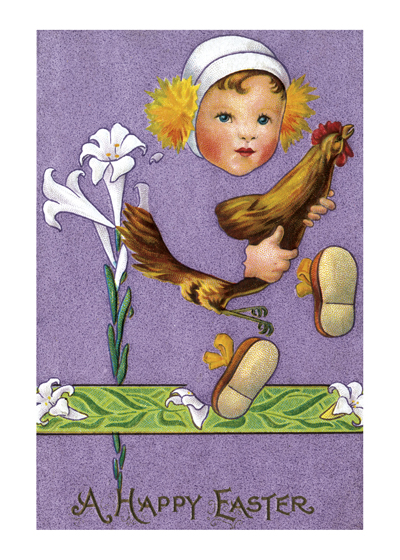 Girl with Chicken  BLANK INSIDE  Our blank notecards are custom printed at our location in Seattle, WA. They come bagged with an envelope. We love illustration art from old children's books and early, printed ephemera. These cards reflect this interest in bringing delightful art back to life