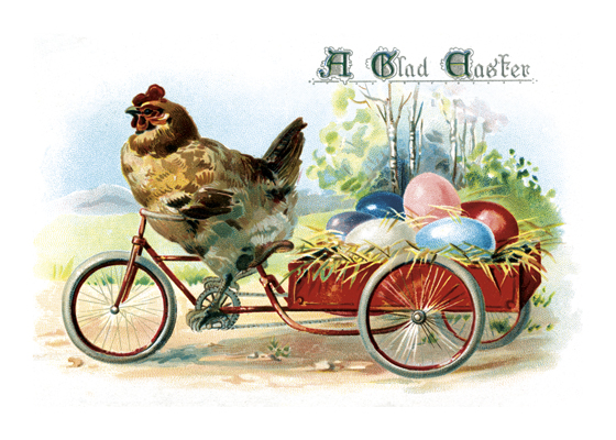 Chicken Hauling Eggs  BLANK INSIDE  Our blank notecards are custom printed at our location in Seattle, WA. They come bagged with an envelope. We love illustration art from old children's books and early, printed ephemera. These cards reflect this interest in bringing delightful art back to life
