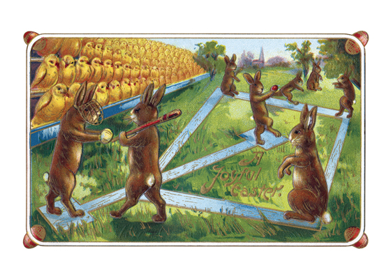 Rabbits Playing Baseball  BLANK INSIDE  Our blank notecards are custom printed at our location in Seattle, WA. They come bagged with an envelope. We love illustration art from old children's books and early, printed ephemera. These cards reflect this interest in bringing delightful art back to life