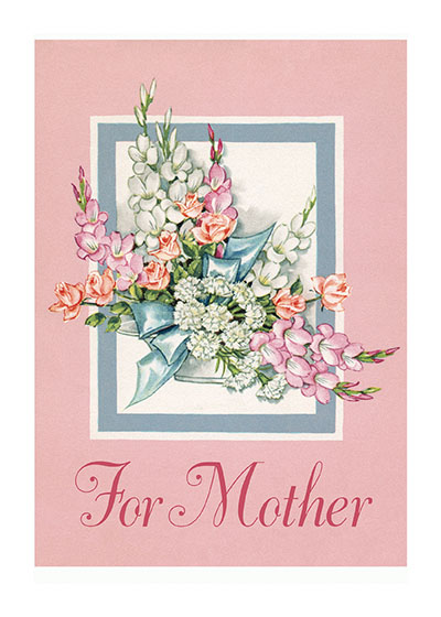 For Mother - A Pink and Blue Bouquet A simple card which was originally produced for a florist.  Our blank notecards are custom printed at our location in Seattle, WA. They come bagged with an envelope. We love illustration art from old children's books and early, printed ephemera. These cards reflect this interest in bringing delightful art back to life.