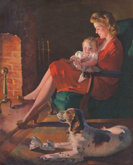 Mother and Baby in Rocking Chair | Baby Art Prints In the 1940s and 1950s magazine illustration was at it apogee, and the thousands of realistic paintings that it produced are a treasure which the coming of photographic illustration obliterated.