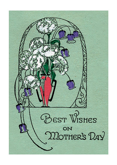 Best Wishes On Mother's Day - An Elegant Vase of Purple and White Flowers The American Arts and Crafts movement has suggested this spare and lovely design.  Our blank notecards are custom printed at our location in Seattle, WA. They come bagged with an envelope. We love illustration art from old children's books and early, printed ephemera. These cards reflect this interest in bringing delightful art back to life.