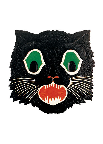 Black Cat Mask Black cats are a perennial part of Halloween and this vintage mask is a good example of one.  These prints are made at our location in Seattle, WA. They have a thick, white backing board and are sealed in clear bags. Each is suitable for framing at 11 inches x 14 inches or can be used as is for wall display. Our goal is to bring back to life these wonderful illustrations from old-fashioned, children's books and from early advertising art.