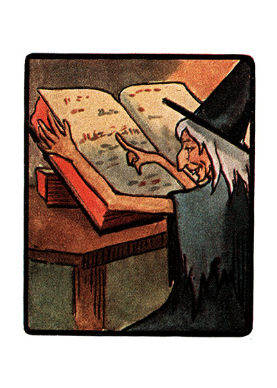 Witch Reading | Classic Halloween Art Prints Witches and their evil spells are part of the excitingly scary things to think about on Halloween.  This witch is consulting her big book of ancient spells.