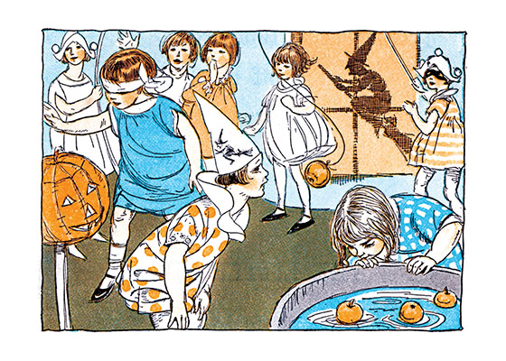 Children's games at a Halloween Party Parties are a large part of the fun of Halloween.  Bobbing for apples is a Halloween traditional and often hilarious, if wet, entertainment.  Our blank notecards are custom printed at our location in Seattle, WA. They come bagged with an envelope. We love illustration art from old children's books and early, printed ephemera. These cards reflect this interest in bringing delightful art back to life.