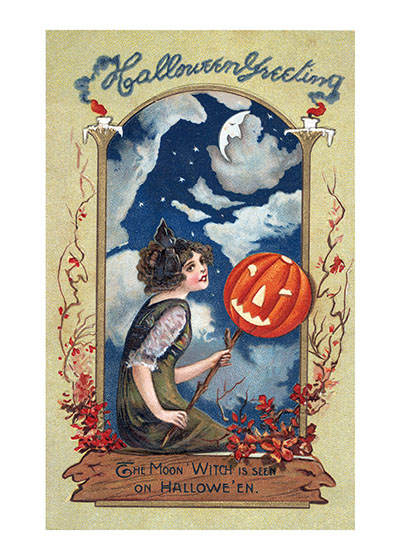 The Moon Witch The Moon Witch is seen on Halloween.  Our blank notecards are custom printed at our location in Seattle, WA. They come bagged with an envelope. We love illustration art from old children's books and early, printed ephemera. These cards reflect this interest in bringing delightful art back to life.