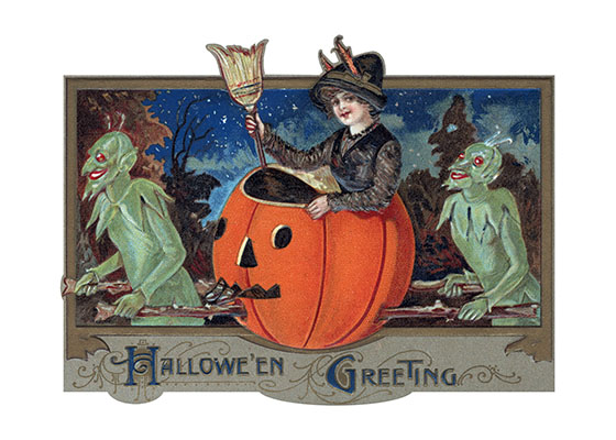 Witch in a Pumpkin, Carried by Demons This witch has her transport for Halloween all worked out-demons are at her service.  Our blank notecards are custom printed at our location in Seattle, WA. They come bagged with an envelope. We love illustration art from old children's books and early, printed ephemera. These cards reflect this interest in bringing delightful art back to life.