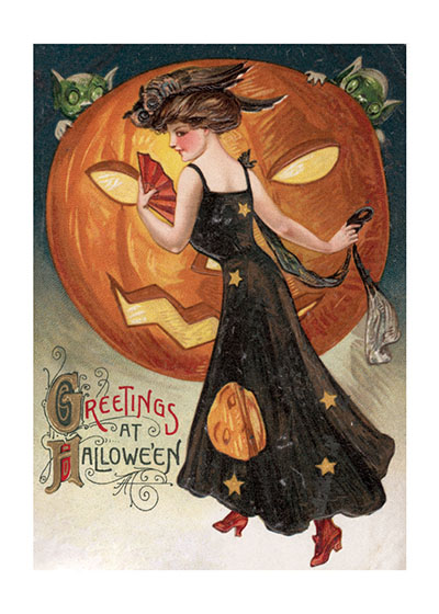 Halloween Lady with a Pumpkin This lovely lady, dressed for Halloween, sends Greetings at Halloween.  These prints are made at our location in Seattle, WA. They have a thick, white backing board and are sealed in clear bags. Each is suitable for framing at 11 inches x 14 inches or can be used as is for wall display. Our goal is to bring back to life these wonderful illustrations from old-fashioned, children's books and from early advertising art.