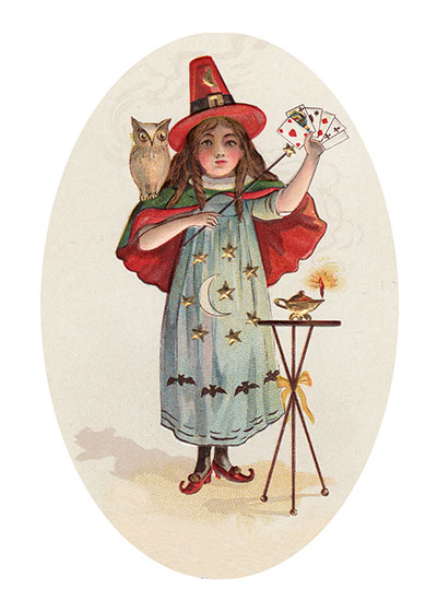 Witch With Playing Cards This young witch with her owl is apparently adept at prestidigitation.  These prints are made at our location in Seattle, WA. They have a thick, white backing board and are sealed in clear bags. Each is suitable for framing at 11 inches x 14 inches or can be used as is for wall display. Our goal is to bring back to life these wonderful illustrations from old-fashioned, children's books and from early advertising art.