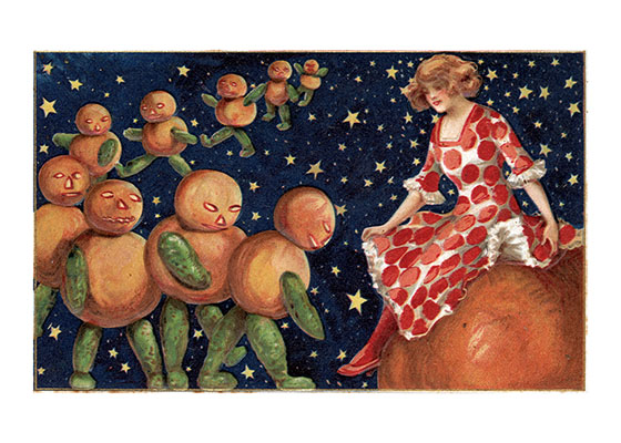 Lady with Pumpkin People | Classic Halloween Art Prints This lady on her pumpkin seems to be getting the homage of strange pumpkin people. This image is from a Victorian postcard; that era did not hesitate to picture strange and often irrational things on holiday cards.