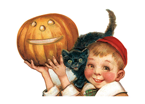 Boy, Black Cat and Pumpkin This image is from a postcard illustrated by Ellen Clapsaddle.  Clapsaddle illustrated dozens, or maybe hundreds, of postcards in the great age of the postcard (early 20th century).  Her specialty was cute children celebrating whatever holiday was involved.  Her popularity was enormous.  Our blank notecards are custom printed at our location in Seattle, WA. They come bagged with an envelope. We love illustration art from old children's books and early, printed ephemera. These cards reflect this interest in bringing delightful art back to life.