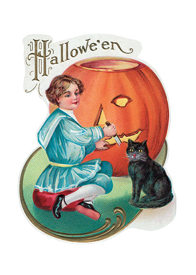 Boy, Cat and Jack-O-Lantern This boy in his antique costume has a might big pumpkin to carve into a Jack-O-Lantern. Maybe his black cat has helped.  Our blank notecards are custom printed at our location in Seattle, WA. They come bagged with an envelope. We love illustration art from old children's books and early, printed ephemera. These cards reflect this interest in bringing delightful art back to life.