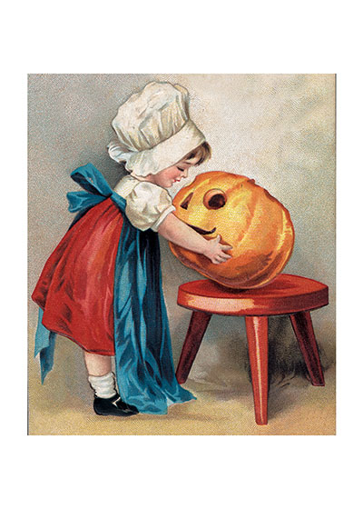 Girl with Jack-o-Lantern Does this little girl have on her mother's apron because she just carved that Jack-o-Lantern, or is she just admiring it?  Our blank notecards are custom printed at our location in Seattle, WA. They come bagged with an envelope. We love illustration art from old children's books and early, printed ephemera. These cards reflect this interest in bringing delightful art back to life.