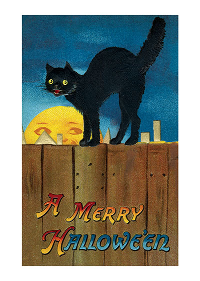 Black Cat on a Fence A black cat and a friendly moon wish you A Merry Halloween.  These prints are made at our location in Seattle, WA. They have a thick, white backing board and are sealed in clear bags. Each is suitable for framing at 11 inches x 14 inches or can be used as is for wall display. Our goal is to bring back to life these wonderful illustrations from old-fashioned, children's books and from early advertising art.